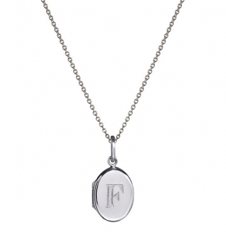 Initial Engraved Oval Locket