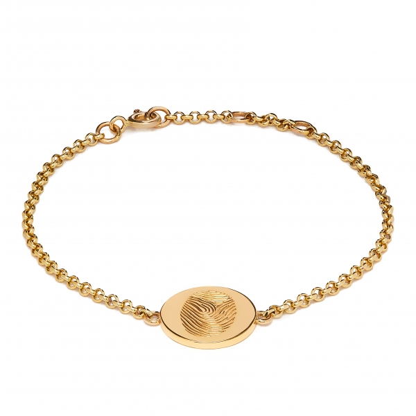 Philippa Herbert - solid 9ct yellow Gold 12mm disc bracelet with fingeprint engraving