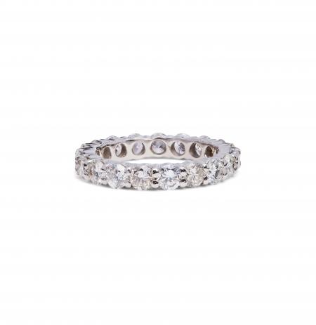Full Eternity shared prong set 3mm diamond ring