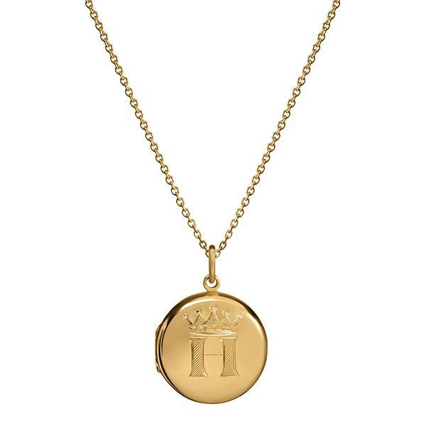 philippa-herbert-9kt-yellow-gold-20mm-round-locket-initial-block-engraving-on chain