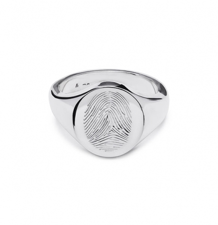 Fingerprint Engraved Signet Ring