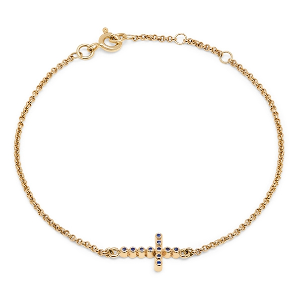 philippa_herbert_9kt_yellow_gold_bobble_cross_bracelet_dark_blue