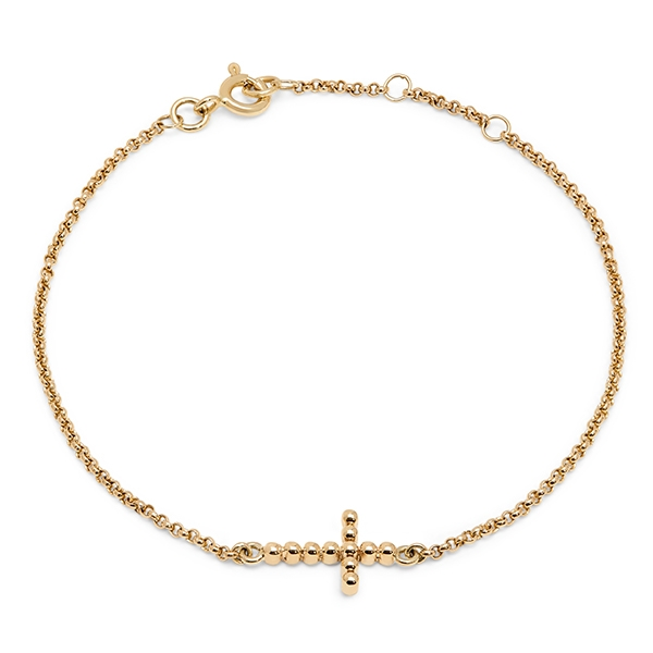 philippa_herbert_9kt_yellow_gold_bobble_cross_bracelet_plain