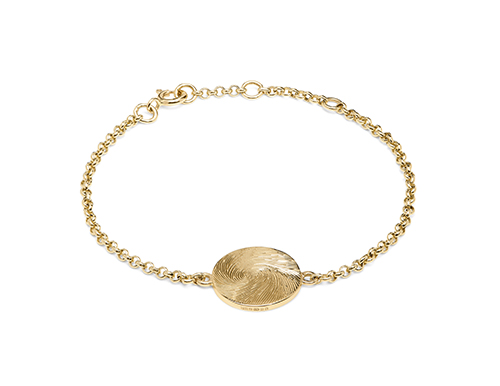 Philippa Herbert hand engraved gold fingerprint disc on gold chain bracelet