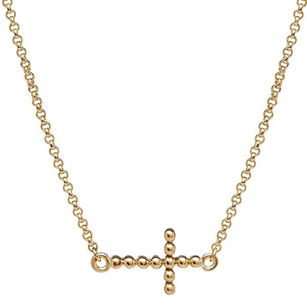 philippa-herbert-9kt-yellow-gold-bobble-cross-necklace-plain