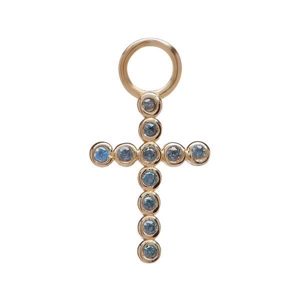 philippa-herbert-alexandra-felstead-earring-drop-9kt-yellow-gold-bobble-cross-blue-topaz