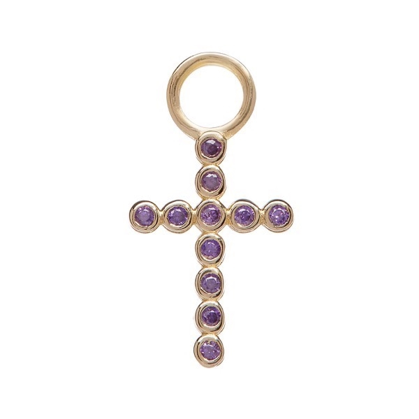 philippa-herbert-alexandra-felstead-earring-drop-9kt-yellow-gold-bobble-cross-purple-amethyst
