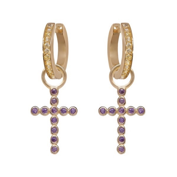 philippa-herbert-earrings-AF-purple-bobble-cross-earring-drop-on-AF-yellow-hoops