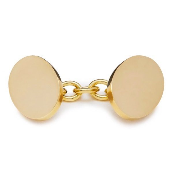 philippa_herbert_9kt_yellow_gold_single_chainlink_cufflink_unengraved
