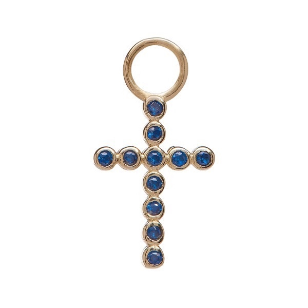 philippa-herbert-earring-drop-bobble-cross-9kt-yellow-gold-blue-sapphire