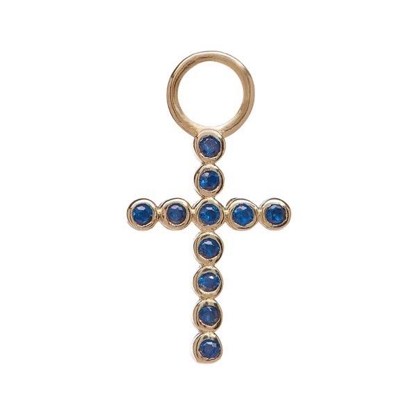 philippa-herbert-earring-drop-bobble-cross-9kt-yellow-gold-blue-sapphire