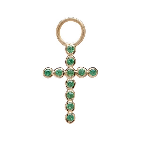 philippa-herbert-earring-drop-bobble-cross-9kt-yellow-gold-green-tsavorite