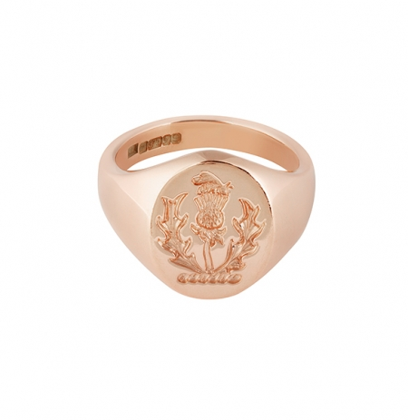 Engraved Signet Ring With Family Crest