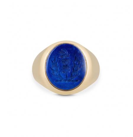 Gemstone Seal Engraved Signet Ring