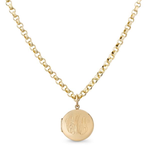 philippa-herbert-9ct-yellow-gold-round-locket-monogram-engraving-on-chain